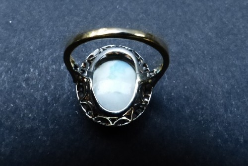 Old ring in Platinum, opal and diamonds - Antique Jewellery Style Art Déco