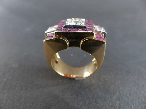 Art-Deco gold and rubies ring - Art Déco