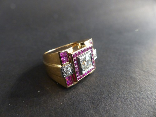 Art Déco - Art-Deco gold and rubies ring