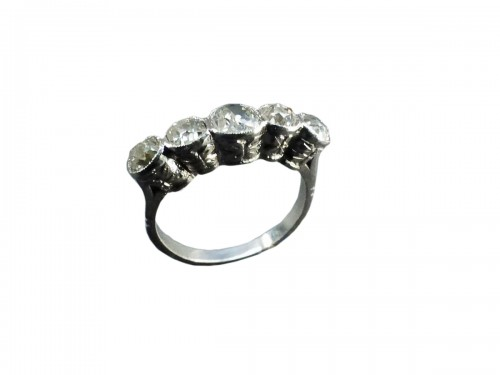 Platinum and Diamond River Ring, Art Deco Period