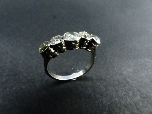 Platinum and Diamond River Ring, Art Deco Period -