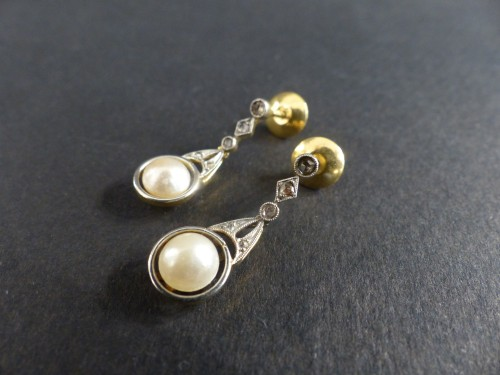 Gold and Platinum naturals pearls and diamonds dangle earrings - Antique Jewellery Style Art Déco
