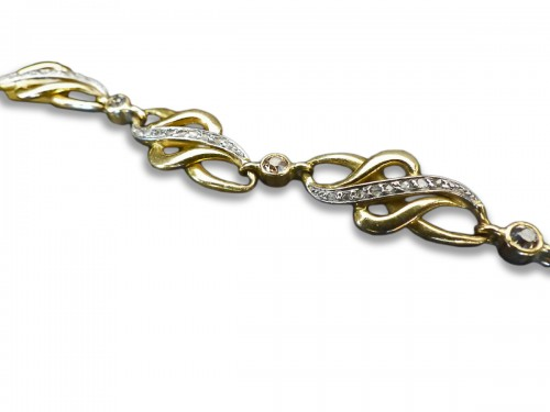 Art Nouveau gold and diamond bracelet