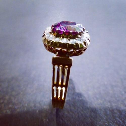 Pink gold ring, amethyst diamonds - Antique Jewellery Style Napoléon III