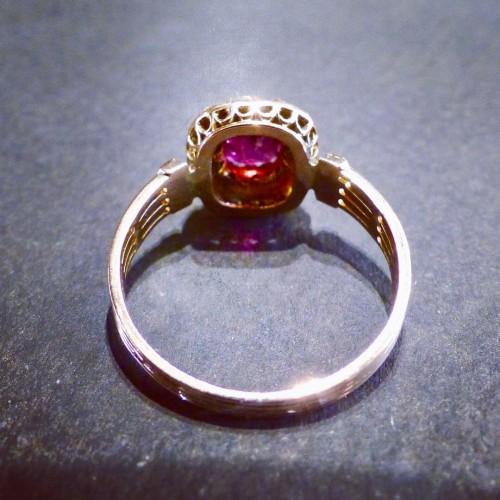 Pink gold ring, amethyst diamonds -