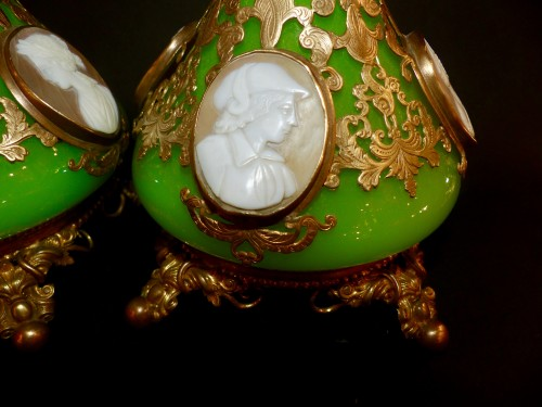 Cameos  and Opaline scent perfume bottles -