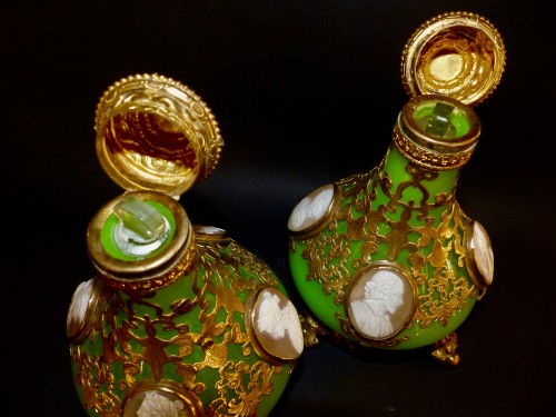 19th century - Cameos  and Opaline scent perfume bottles