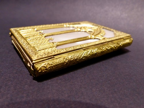 Objects of Vertu  - Troubadour style dance card note book, in mother-of-pearl and gilded bronze