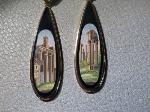 Pendants of gold ears and micromosaics of Empire period - Antique Jewellery Style Empire