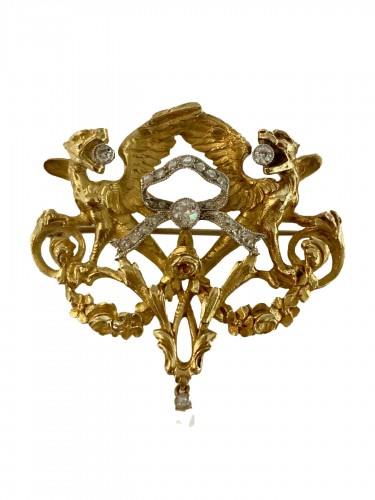 Broche Chimère en or, diamants et perle fine vers 1880