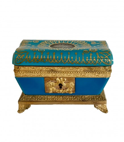 "Turquoise opaline ""sarcophagus"" box"