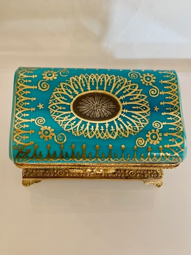 """Turquoise opaline """"sarcophagus"""" box - Objects of Vertu Style Restauration - Charles X"""
