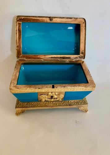 "Turquoise opaline ""sarcophagus"" box -"