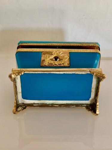 "19th century - Turquoise opaline ""sarcophagus"" box"