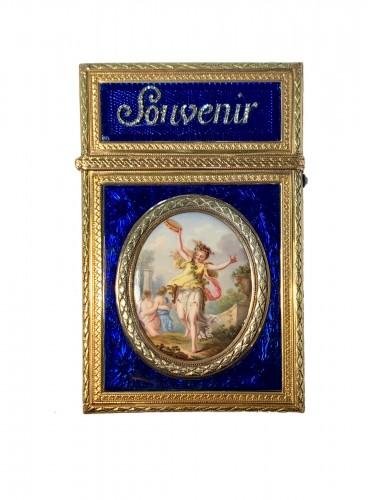 Carnet de Bal dit étui à tablettes en or, émail et diamants