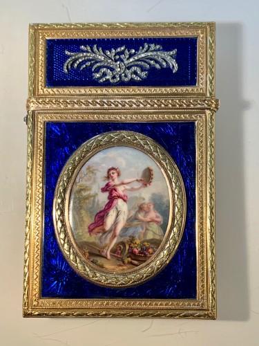 Carnet de Bal dit étui à tablettes en or, émail et diamants - Objects of Vertu Style Louis XVI