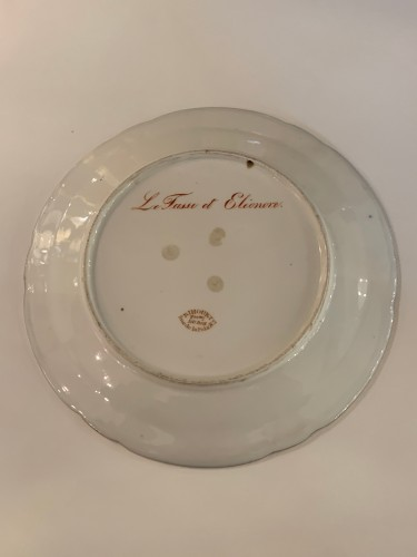 Pair of plates in Paris porcelain. by Rihouet and Schoelcher - Restauration - Charles X