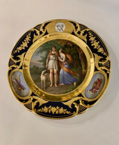Restauration - Charles X - Pair of plates in Paris porcelain. by Rihouet and Schoelcher