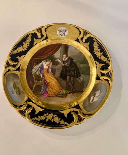 Antiquités - Pair of plates in Paris porcelain. by Rihouet and Schoelcher