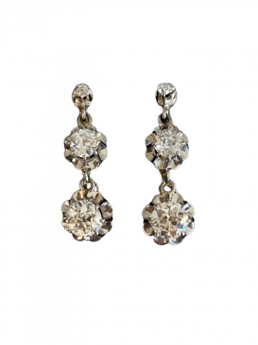 Boucles d'oreilles en or, platine et diamants