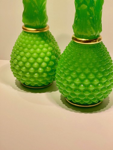 Glass & Crystal  - Baccarat - Green opalines vases