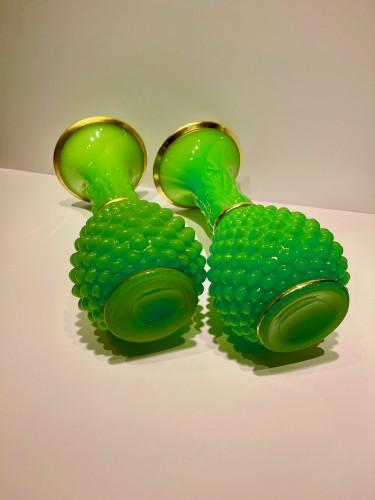 Baccarat - Green opalines vases -