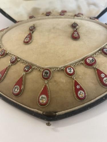 micro mosaic set 19 th century - Antique Jewellery Style Louis-Philippe