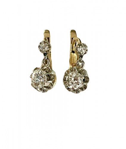 Pair Of Sleepers earrings  In Gold And Diamonds
