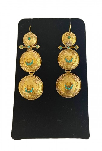 Gold Color And Turquoise Pendants
