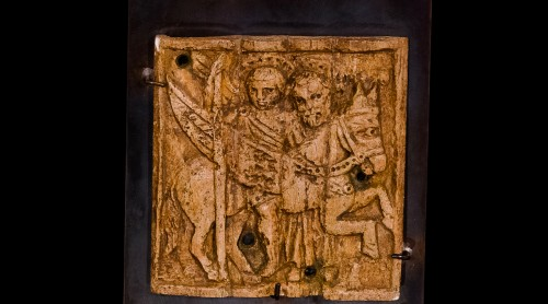 Religious Antiques  - Bone Relief of a religious scene (Middle East, 12th century)