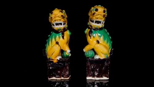 Pair of Guardian Lions (Kangxi, 1662-1722) - Asian Art & Antiques Style