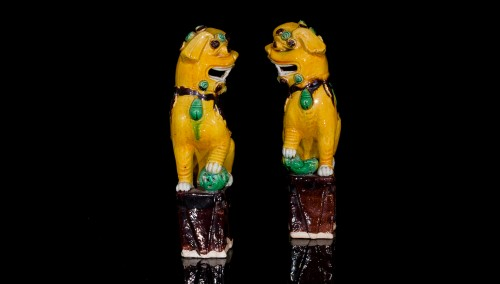 17th century - Pair of Guardian Lions (Kangxi, 1662-1722)