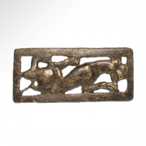 Ancient Art & Antiquities  - Two Bronze Belt Buckle Plaques (Ordos Civilisation, 6th-2nd cent BC)
