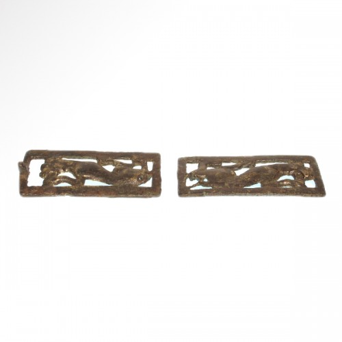 Two Bronze Belt Buckle Plaques (Ordos Civilisation, 6th-2nd cent BC) -