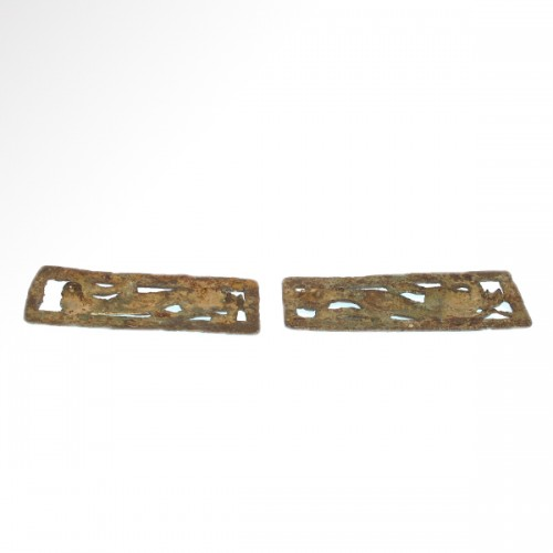 16th century - Two Bronze Belt Buckle Plaques (Ordos Civilisation, 6th-2nd cent BC)