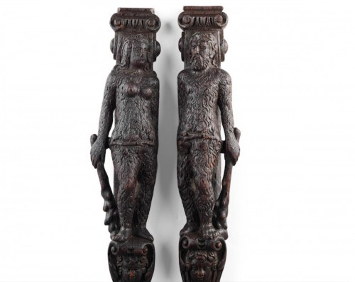 Pair of 'Wild Man & Wild Woman', oak, late 16th century German or Flemish
