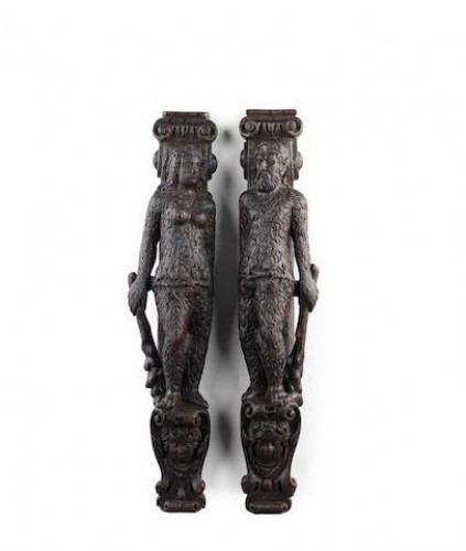 Pair of 'Wild Man & Wild Woman', oak, late 16th century German or Flemish -