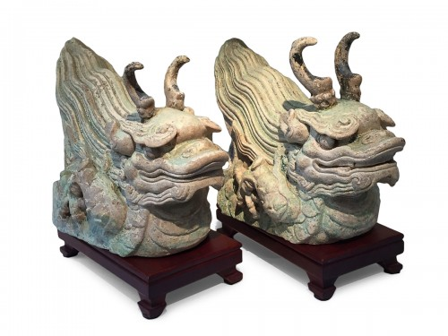 A Pair of Ming Dragon Rooftiles (15th century)