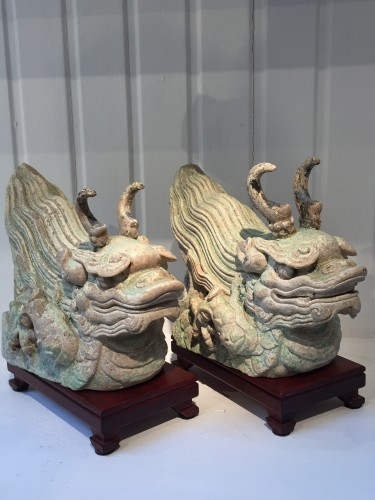 Asian Art & Antiques  - A Pair of Ming Dragon Rooftiles (15th century)