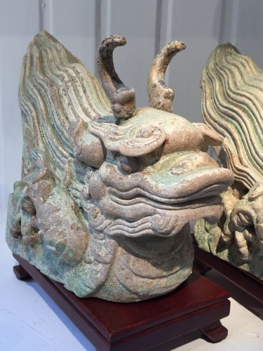 A Pair of Ming Dragon Rooftiles (15th century) -