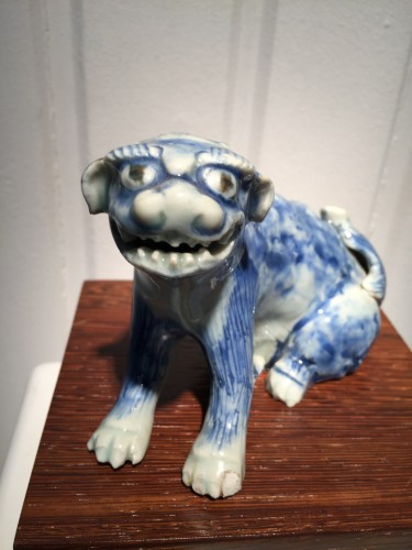 Asian Art & Antiques  - Meiji Blue and White Ceramic Dog (Japan, 19th cent)