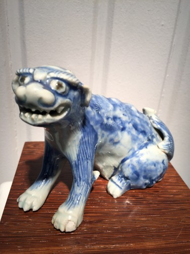 19th century - Meiji Blue and White Ceramic Dog (Japan, 19th cent)