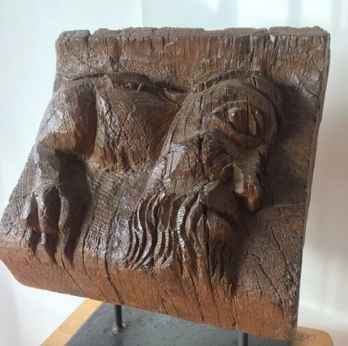 Wooden Corbel with anthropomorphic monster - France, ca 1500 - Sculpture Style Middle age