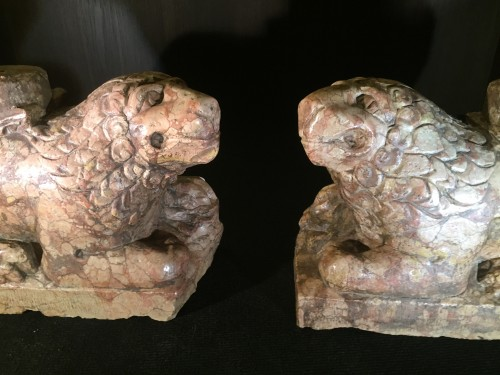 Two Stylophore Lions, Italy circa 1400 - Sculpture Style Middle age