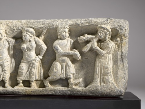 Frieze with Dancers and Musicians (Gandhara, 2nd-4th century) - Ancient Art & Antiquities Style