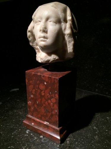 Marble Head, France 14th century - Sculpture Style Middle age