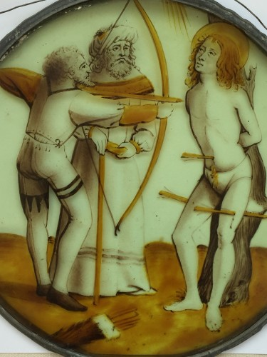 Stained Glass Roundel of Saint Sebastian (Flanders, ca 1500) - Religious Antiques Style Renaissance