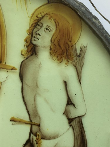 Religious Antiques  - Stained Glass Roundel of Saint Sebastian (Flanders, ca 1500)