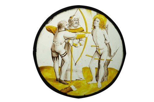 Antiquités - Stained Glass Roundel of Saint Sebastian (Flanders, ca 1500)
