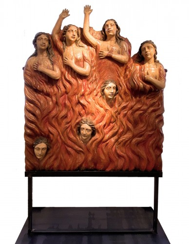 Seven Souls in Purgatory (Spain, ca 1700) - Exceptional and monumental